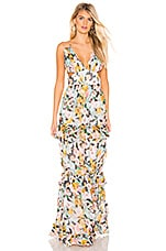 AMUR Drew Gown in Brushstroke Floral