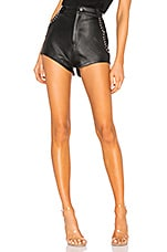 Understated Leather Studded Combo Shorts in Black