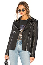 Understated Leather Oversized Moto Jacket in Black