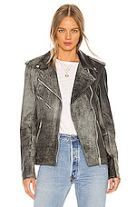 Understated Leather Oversized Easy Rider Jacket in Distressed Black