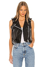 Understated Leather Shrunken Moto Vest in Black