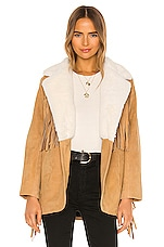 Understated Leather Buttercup Blazer With Faux Fur Collar in Tan