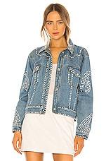 Understated Leather Electra Denim Rhinestone Jacket in Light Blue