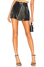Understated Leather Mid Rise Moto Skirt With Belt in Black