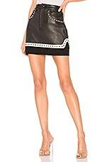 Understated Leather High Waist Studded Mini Skirt in Black