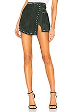 Understated Leather Studded Wrap Mini Skirt in June Bug