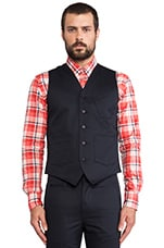 Twill Tailored Vest in Navy