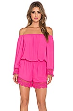 VAVA by Joy Han Pia Off the Shoulder Romper in Fuschia