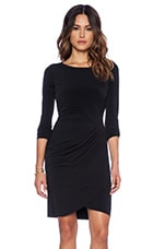 Dove Stretch Jersey with Lace Dress in Black