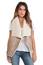 Velvet by Graham & Spencer Nia Faux Fur Vest in Camel