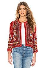 Velvet by Graham & Spencer Velvet Embroidered Jacket in Red