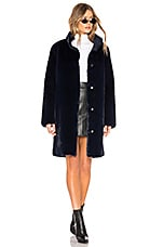 Velvet by Graham & Spencer Mina Faux Fur Coat in Navy