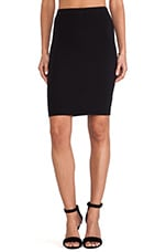 Garline Cotton Lycra Pencil Skirt in Black