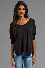 Gala Lux Slub Long Sleeve V-Neck in Black