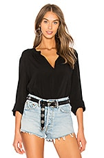 Rosie Lux Slub Henly Long Sleeve in Black