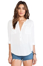 Nyssa Rayon Challis Buttondown Top in White