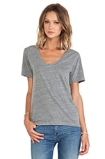 Albie Heather Grey Knit V Neck in Grey