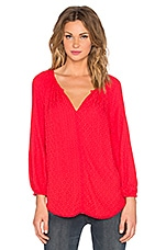 Alissa Damask Rayon Long Sleeve V Neck Top en Punch