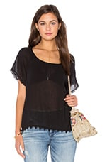 Buttercup Cotton Gauze Top en Noir