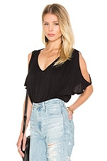 Jay Modal Knit V Neck Top en Noir