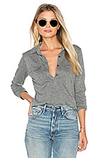 Dara Long Sleeve Half Button Top en Gris Chiné Moyen