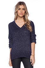 Metallic Textured V Neck Sweater in Navy