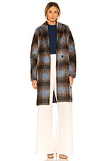 Vince Belted Plaid Coat in Azurite Plaid