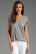 Short Sleeve Rolled V-Neck Tee in Heather Grey