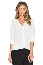 Vee Button Down Blouse en Blanc