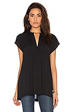 Short Sleeve Pintuck Popover Blouse en Noir