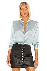Vince Fitted Band Collar Top in Sky Lark