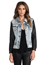 Viparo Anika Denim Leather Sleeve Jacket in Blue