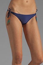 Kalahari Tide Side Embroidery Bikini Bottom in Navy