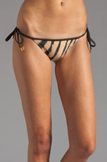 Cape Black Tie Side Bikini Bottom in Brown/Black