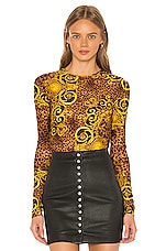 Versace Jeans Couture Lady Long Sleeve Bodysuit in Gold