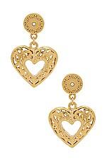 Vanessa Mooney The Charlotte Heart Earrings in Gold