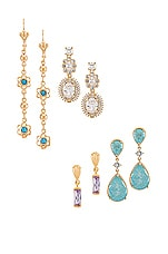 Vanessa Mooney Aqua Quartz Earring Set in Gold
