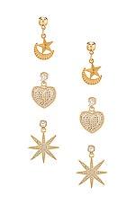 Vanessa Mooney Starlover Earring Set in Gold