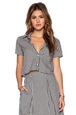 WAYF Button Front Shirt in Black & White Gingham