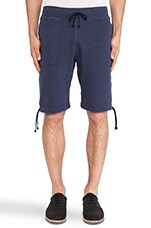 Terry Pull On Short in Blue Melange
