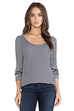 Rosewood Top in Navy Blue & Creme Stripe