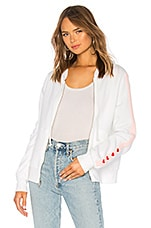 Wildfox Couture Love Track Sport Carta Zip Hoodie in Clean White & Romantic