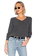 Wildfox Couture Baggy Beach V Sweatshirt in Vintage Varsity Clean Black
