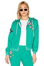 Wildfox Couture Regan Zip Hoodie in Emerald Green