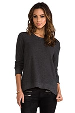 Long Sleeve Mixed Backslant in Solid Charcoal