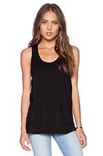 Slub Hi Lo Tank in Black