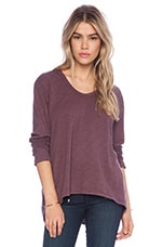 Slub Basic Long Sleeve Slouchy Boyfriend in Petunia
