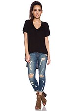Short Sleeve Slouchy Hi-Lo in Black