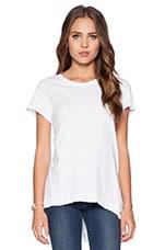Slub Jersey Short Sleeve Asymmetrical Slouchy Tunic in Standard White