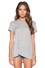 Cotton Modal Jersey Twisted Pleat Slouchy Tee in Grey Heather